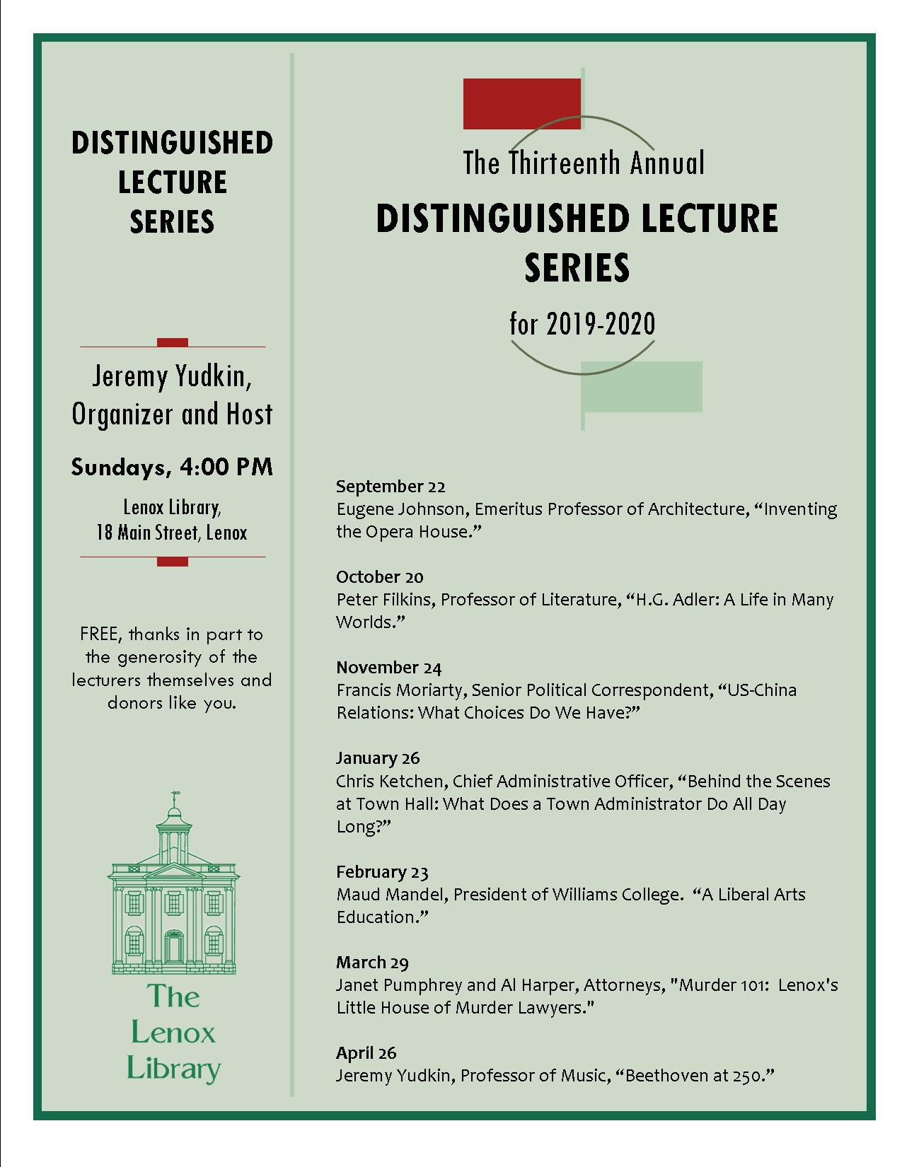 Distinguished Lecture Series 2019-2020